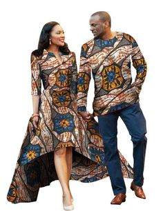 Men and Women African Traditional Clothes, Fashion Dress and Shirt, Various Colors