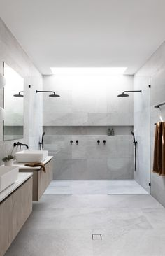 Design, Styling + Reno Tips ( Bathroom Tile Designs, Bathroom Design Luxury, Bathroom Renos, Latest Bathroom Designs, Large Bathrooms, Dream Bathrooms, Small Bathroom, Bathroom Large Tiles, Large Tile Shower