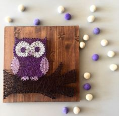 "This listing is for a made to order string art owl on a branch sign, measuring approximately 12"" x 12"". Pine boards will be stained with Provincial colored stain as pictured in the photos unless otherwise requested. String color options can be seen on the last picture. By default, boards do not come with hanging hardware attached to the back. If you would like a picture hanger, you may select to have the hanger and nails attached for an extra dollar. Please remember that colors may vary due…"