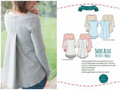 """Ebook A-Shirt """"ALVA"""" by EvLi's-Needle Sewing Pants, Sewing Clothes, Evlis Needle, Textiles, Weird Fashion, Pattern Making, Sewing Patterns, Bell Sleeve Top, Hoodies"""