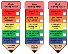 Magic Editing Pencil {Free} --- Let the magic editing pencil do the reminding! You'll see students' work once they have made sure of the following: - write on the line - used a capital letter - used finger spaces - used a full stop or punctuation mark - read over their work There are 2 versions. First version is for kinder and the second is for years 1-2. The difference is in the use of punctuation marks at the end of their writin#reachingteachers