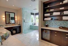 The Master's Bath! #bathdesign #bath #interiordesign #ladesigner #interiordesigner #glasstile #tile #marble @snyderdiamond #customcabinets @gtconstruction by designsynthesis
