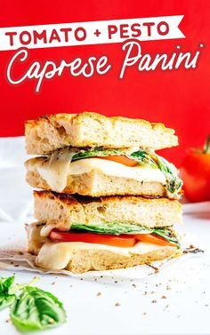 Enjoy the flavors of the Mediterranean at home with this easy Caprese Panini recipe. Made with tomatoes, mozzarella, pesto, and focaccia! #sandwich #caprese #panini #mediterranean #italian #vegetarian Best Vegetarian Sandwiches, Vegetarian Recipes Easy, Easy Dinner Recipes, Healthy Recipes, Pesto Spinach, Tomato Pesto, Caprese Panini, Panini Recipes, Dinner Salads