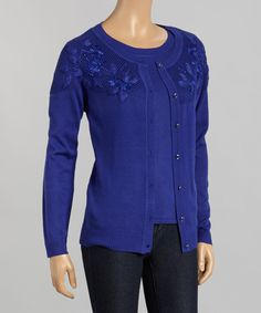 Another great find on #zulily! Blue Embroidered Cardigan & Top - Women by  #zulilyfinds