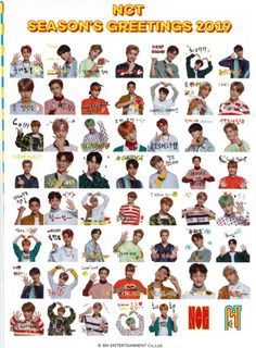 NCT SEASON'S GREETINGS 2019 'Sticker Set' #nct #nctseasonsgreetings2019 #nctstickerset Printable Stickers, Cute Stickers, Nct Johnny, Jisung Nct, Tumblr Stickers, Dream Chaser, Jung Woo, Aesthetic Stickers, Sticker Design
