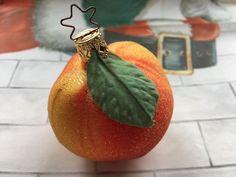 INGE GLAS Blown Glass PEACH Fruit Christmas Ornament Made in Germany #IngeGlas
