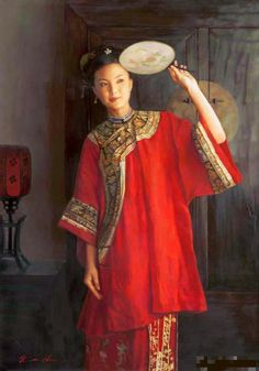 陈逸鸣油画作品:仕女系列-2 -  秋声 2007年作 作品尺寸:117*82cm