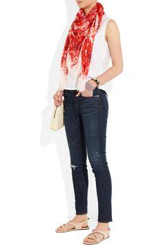 Alexander McQueen|Printed modal and silk-blend scarf |NET-A-PORTER.COM