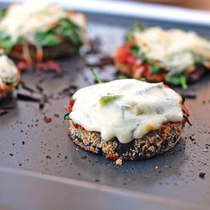 Cheesy Baked Eggplant Pizza Sliders. ....wish someone would make them so I just have to eat them. =)