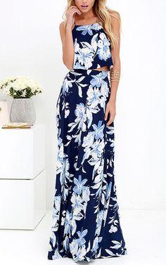 Lovely Navy Blue Floral Print Maxi Dress via @bestchicfashion