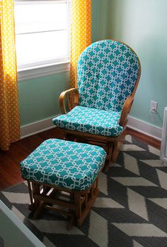 How to Recover a Nursery Glider (Design Dazzle) Recover Glider Rocker, Glider Rocker Cushions, Rocking Chair Cushions, Glider And Ottoman, Glider Rockers, Rocking Chairs, Glider Redo, Chair Makeover, Furniture Makeover