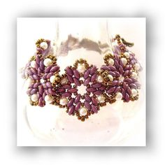 Purple Lustre Beadwoven Bracelet with Glass by CreativeTreasuresUK
