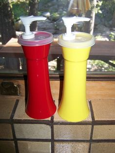 Vintage Tupperware Set of Ketchup and Mustard Dispensers...I ate Ketchup on everything!