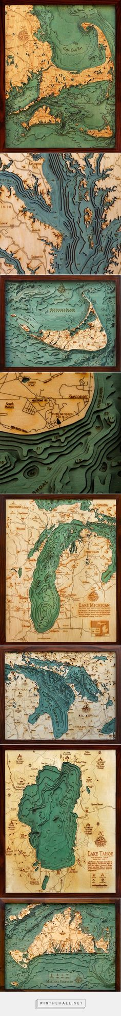 Hidden underwater world revealed with 3D laser cut wood maps by Below the boat