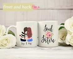 Soul Sisters coffee mug, pick your hair color, etc., personalized coffee mug, custom best friend mug My Best Friend's Birthday, Birthday Mug, Sister Birthday, Birthday Gifts, Best Friend Mug, Friend Mugs, Best Friend Gifts, Gifts For Friends, Graduation Gifts For Sister