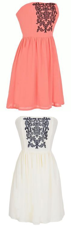 Filigree Dresses in Coral or White and Black. #graduation #wedding #spring #summer #dress #fashion
