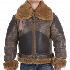 MEN'S AVIATOR RAF B3 SHEEPSKIN FUR SHEARLING LEATHER BOMBER FLYING JACKET  Product Details:  Material : Real Leather Original Shearling Fur Color: Black with Brown Combination Front: Full Zip Closure Pockets: Two Pockets on Waist Collar: Belted Collar Length:- Two Quarter