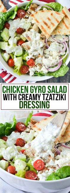 Everything you love about chicken gyros tossed in a loaded Chicken Gyro Salad and topped with a Creamy Tzatziki Dressing!