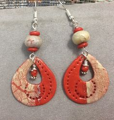 Coral imitation earrings, silver leaf technique.