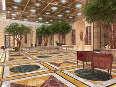 A spacious vestibule is envisioned, with golden stone walls and a colorful geometric patterned marble floor. A spectacular etched and mirrored ceiling will reflect the marble floor Flooring, Spacious, Outdoor Decor, Mirror Ceiling, Interior Decorating, Stone Wall, Marble Floor, Luxury, Home Decor