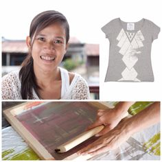 "Raiksmey is from Phnom Pehn, Cambodia and hand-screens intricate patterns on eco-friendly shirts made with remnant jersey cotton. Though Raiksmey has faced many struggles, she is grateful to have earned an income alongside other women for four years now. Raiksmey finds joy in hearing about people enjoying her products, and is ""happy that it is helping other women here."""