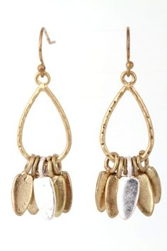 """A pair of earrings featuring a cut out tear drop shape with dangling shapes. Great, unique look! Approx. length: 1.5"""". Made in China."""