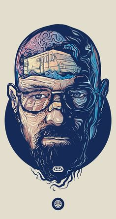 Love this illustration of Walter White from Breaking Bad by Adipurba, check out more of his work! Art Breaking Bad, Dope Art, Trippy, Vector Art, Concept Art, Art Drawings, Drawing Faces, Street Art, Illustration Art