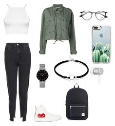 """polyvore"" by jesy-smith on Polyvore featuring mode, Topshop, WearAll, Comme des Garçons, Faith Connexion, Herschel Supply Co., Ray-Ban, CLUSE, Casetify et Beats by Dr. Dre"