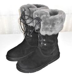 UGG Australia Montclair 1892 Black Suede Sheepskin Lined Boots Women's  US 10 #UGGAustralia #WinterLinedBoot #ColdWeather
