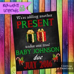 Christmas Pregnancy Announcement, Christmas Pregnancy Reveal, Expecting Chalkboard Poster, Baby Due Date Printable, DIGITAL FILE by KawaiiTrends on Etsy
