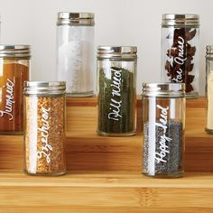 WHITE AND BLACK VINYL TO LABEL ALL https://www.containerstore.com/s/kitchen/spice-racks-jars/3-oz.-glass-spice-bottle/12d?productId=10013579