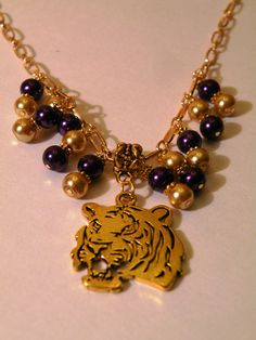 Purple & Gold LSU Necklace by OneOfAKindDesignsByD on Etsy