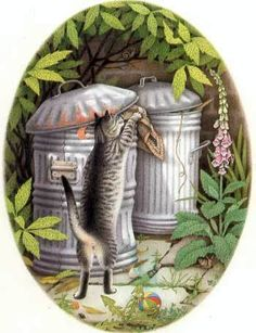 Nicola Bayley The Patchwork Cat....Bootle retrieves his blanket from the trash can!