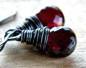 Garnet Earrings Wine Red Garnet Briolette Oxidized Sterling Silver Earrings - Hunter Valley