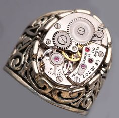 Mens Silver Ring Mens Steampunk Ring Steampunk by DesignsBloom
