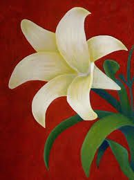 Beautiful White And Yellow Lily In Red Background Green Leaves PaintingPainting FlowersFlower PaintingsEasy PaintingsCanvas PaintingsSimple