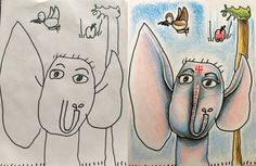 """Imgur- Mom colors her kids drawings. hilarious. """"My daughter, at this point 5, drew this for me saying it was an elephant boy that tells her things in her dreams. I thought this would be the neatest way to color it at the time. Colored pencils on 8x10 paper."""""""