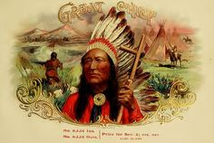 Cigar Box Label  Great Chief Native American Vintage Cigar Label Fast Download antique  art.
