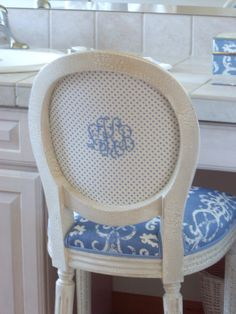 Monogrammed chair back