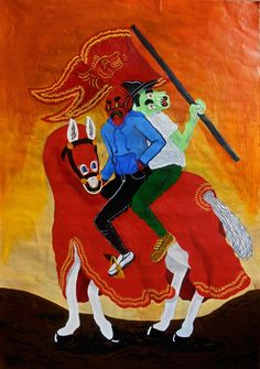 Segundos Jinetes y su corcel #caballo #horse #paint #illustration #corcel #jinete #ilustración #caracas #medieval #characters #acrílico #acrylic #pintura #art #arte #tututu #tuki #grotesque #grotesco #smile #bandera #flag #estandarte