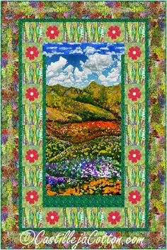 """Floral landscape panel with fusible appliqued flowers alternating with plain blocks in the pieced borders. Panel quilt pattern. Finished Size: Lap/Throw 48"""" x 72"""" Skill Level: Advanced Beginner Technique: Pieced/Fusible Applique Panel Quilts, Fabric Panels, Quilt Patterns, Applique, Landscape, Floral, Flowers, Prints, Scenery"""