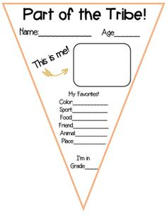 All About Me pennant - tribal theme Part of the Tribe! Would look great out in the hall by your classroom!
