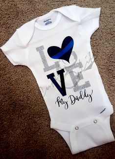 648b7704a67 Love My Daddy Thin Blue Line Infant Bodysuit   Thin Blue Line Apparel    Police Daughter   Baby Police   Back The Blue   Thin Blue Line Baby