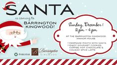 You're Invited! Join us for an afternoon with Santa, free photos, complimentary gourmet cookies, coffee, hot chocolate and holiday spice lattes, Sunday, Dec. 1, from 2 - 4 p.m. at Barrington Kingwood Manor House, 2717 N. Cotswold Manor Rd., Houston, TX, 77339.