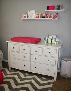 modern gray and pink nursery