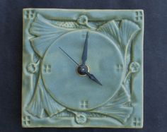 Arts and Crafts, Mission Style, Ginkgo Hanging Clock, Ceramic Clock