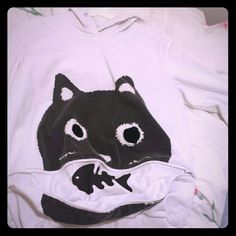 Cat hoodie White, long sleeve with a cute zipper that has a fish inside Sweaters