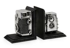 For photographer who loves books: Pair of Vintage Camera Bookends