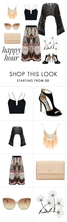"""""""Happy Hour"""" by patience-zacheus ❤ liked on Polyvore featuring Jimmy Choo, Rosetta Getty, Temperley London, DKNY and Linda Farrow"""