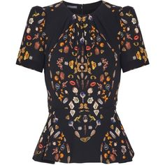 Alexander McQueen Printed Short Sleeve Top ($894) ❤ liked on Polyvore featuring tops, alexander mcqueen, jackets, skirts, short sleeve peplum top, multi color tops, relaxed fit tops and alexander mcqueen top